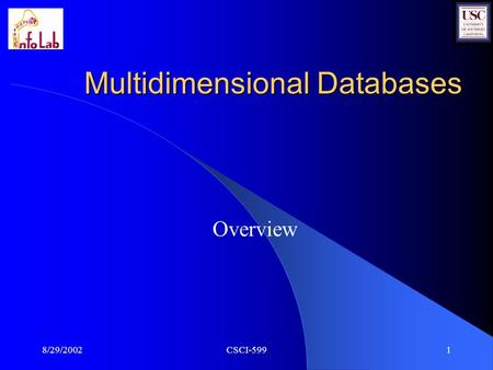 8/29/2002CSCI-5991 Multidimensional Databases Overview.