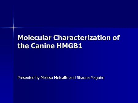 Molecular Characterization of the Canine HMGB1 Presented by Melissa Metcalfe and Shauna Maguire.
