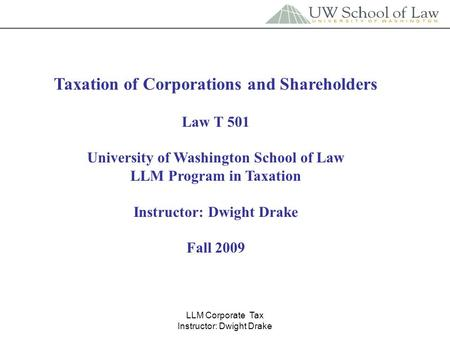 Taxation of Corporations and Shareholders