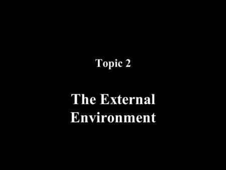 Topic 2 The External Environment