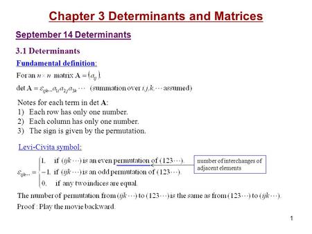 Fundamental definition: 1 September 14 Determinants 3.1 Determinants Chapter 3 Determinants and Matrices number of interchanges of adjacent elements Levi-Civita.