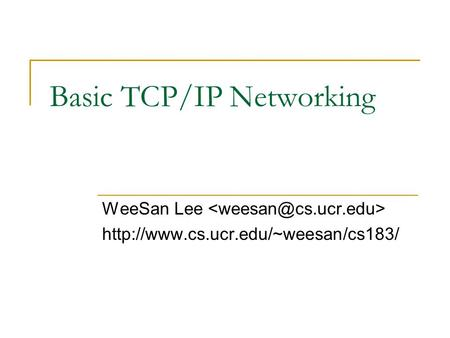 Basic TCP/IP Networking