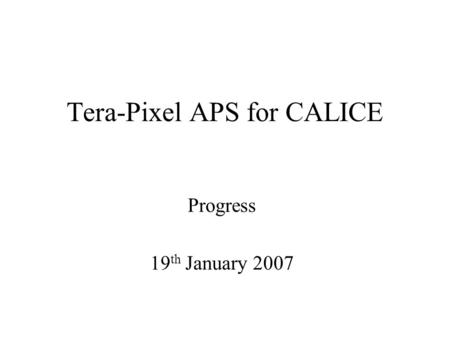 Tera-Pixel APS for CALICE Progress 19 th January 2007.