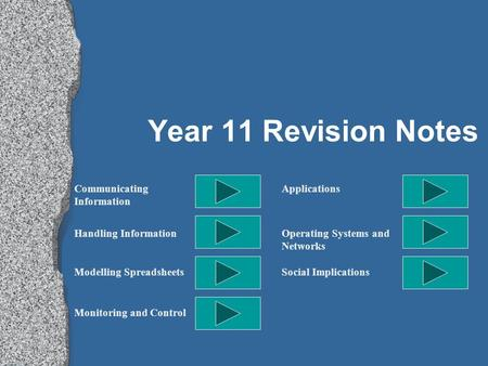 Year 11 Revision Notes <strong>Communicating</strong> Information Handling Information Modelling Spreadsheets Monitoring and Control Applications Operating Systems and.