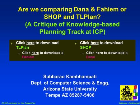 ICAPS workshop on the Competition Subbarao Kambhampati Are we comparing Dana & Fahiem or SHOP and TLPlan? (A Critique of Knowledge-based Planning Track.