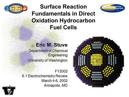 Eric M. Stuve Department of Chemical Engineering University of Washington FY2002 6.1 Electrochemistry Review March 4-6, 2002 Annapolis, MD Surface Reaction.