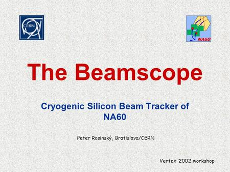 The Beamscope Cryogenic Silicon Beam Tracker of NA60 Peter Rosinský, Bratislava/CERN Vertex '2002 workshop.