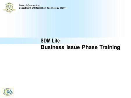Comprehensive Delivery Process SDM Lite Business Issue Phase Training State of Connecticut Department of Information Technology (DOIT)