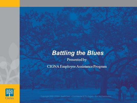 1 Battling the Blues Presented by CIGNA Employee Assistance Program Copyright 2008 CIGNA HealthCare – Confidential & Privileged – Not for Distribution.