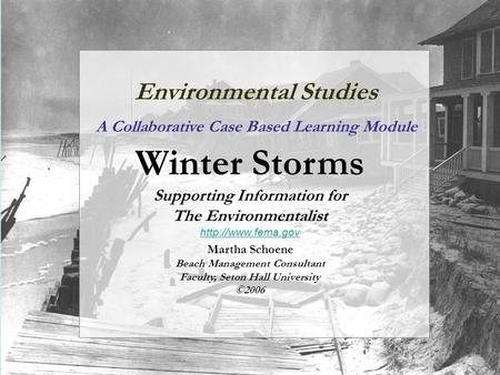 Environmental Studies A Collaborative Case Based Learning Module Winter Storms Supporting Information for The Environmentalist