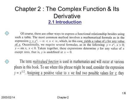 2003/02/14Chapter 2 1頁1頁 Chapter 2 : The Complex Function & Its Derivative 2.1 Introduction.