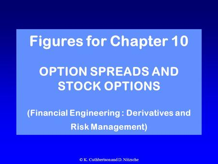 © K. Cuthbertson and D. Nitzsche Figures for Chapter 10 OPTION SPREADS AND STOCK OPTIONS (Financial Engineering : Derivatives and Risk Management)