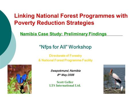 "Linking National Forest Programmes with Poverty Reduction Strategies Namibia Case Study: Preliminary Findings Scott Geller LTS International Ltd. ""Nfps."