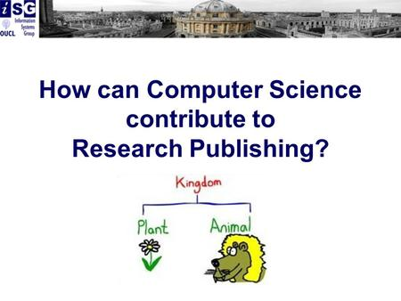 How can Computer Science contribute to Research Publishing?