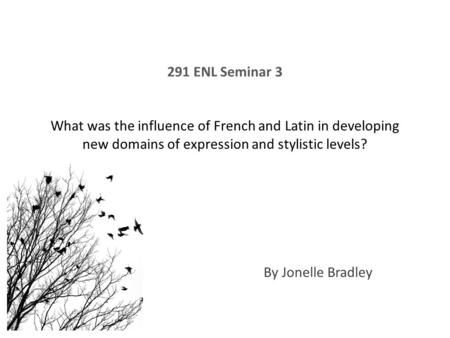 291 ENL Seminar 3 What was the influence of French and Latin in developing new domains of expression and stylistic levels? By Jonelle Bradley.