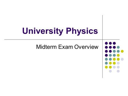 University Physics Midterm Exam Overview. 16. THE NATURE OF LIGHT Speed of light c = 3x10 8 m/s (in the vacuum) v = c/n (in the media) Formulas c = f.