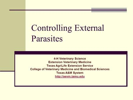 Controlling External Parasites 4-H Veterinary Science Extension Veterinary Medicine Texas AgriLife Extension Service College of Veterinary Medicine and.