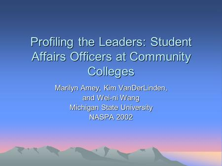 Profiling the Leaders: Student Affairs Officers at Community Colleges Marilyn Amey, Kim VanDerLinden, and Wei-ni Wang Michigan State University NASPA 2002.