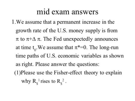 Mid exam answers 1.We assume that a permanent increase in the growth rate of the U.S. money supply is from  to  +  . The Fed unexpectedly announces.