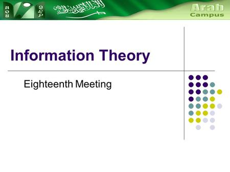 Information Theory Eighteenth Meeting. A Communication Model Messages are produced by a source transmitted over a channel to the destination. encoded.