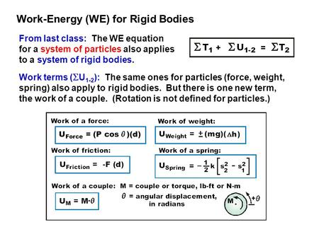 Work-Energy (WE) for Rigid Bodies
