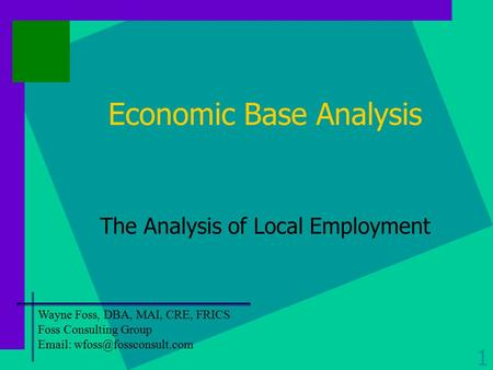 Economic Base Analysis