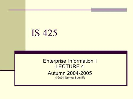 IS 425 Enterprise Information I LECTURE 4 Autumn 2004-2005  2004 Norma Sutcliffe.
