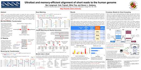 Ultrafast and memory-efficient alignment of short reads to the human genome Ben Langmead, Cole Trapnell, Mihai Pop, and Steven L. Salzberg Center for Bioinformatics.