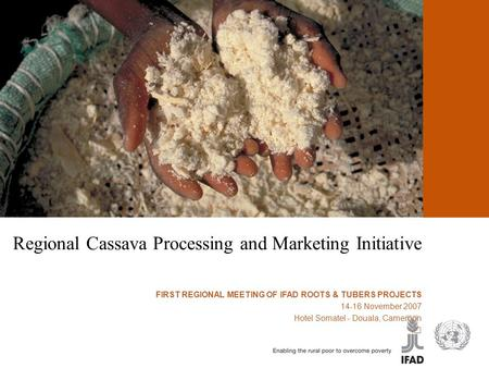 Cassava processing and marketing Regional Cassava Processing and Marketing Initiative FIRST REGIONAL MEETING OF IFAD ROOTS & TUBERS PROJECTS 14-16 November.