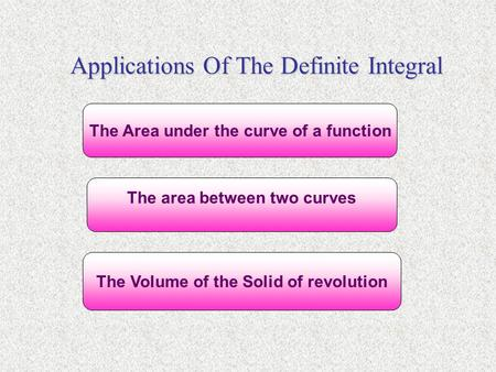 Applications Of The Definite Integral The Area under the curve of a function The area between two curves The Volume of the Solid of revolution.