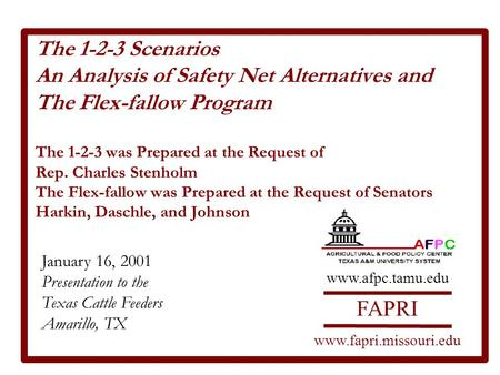 The 1-2-3 Scenarios An Analysis of Safety Net Alternatives and The Flex-fallow Program The 1-2-3 was Prepared at the Request of Rep. Charles Stenholm The.