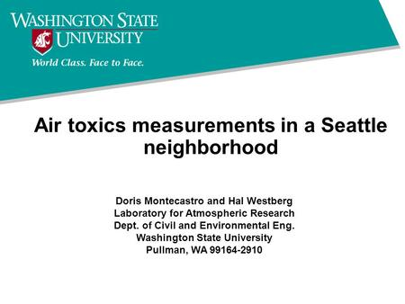Air toxics measurements in a Seattle neighborhood Doris Montecastro and Hal Westberg Laboratory for Atmospheric Research Dept. of Civil and Environmental.