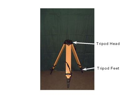 Manufacturer's Recommendation for Setting up a Theodolite 1)Ensure that :- the tripod head is approximately level the tripod feet are firmly fixed in.