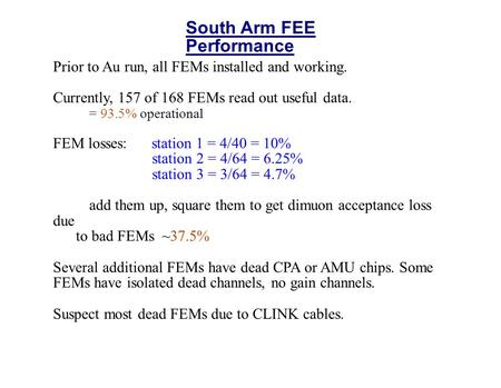South Arm FEE Performance Prior to Au run, all FEMs installed and working. Currently, 157 of 168 FEMs read out useful data. = 93.5% operational FEM losses: