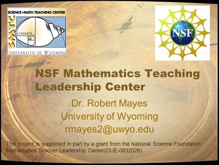 NSF Mathematics Teaching Leadership Center Dr. Robert Mayes University of Wyoming This project is supported in part by a grant from the.