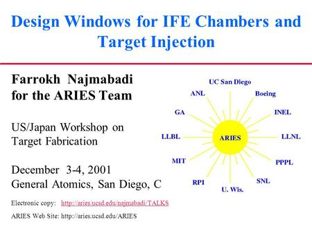 Design Windows for IFE Chambers and Target Injection Farrokh Najmabadi for the ARIES Team US/Japan Workshop on Target Fabrication December 3-4, 2001 General.