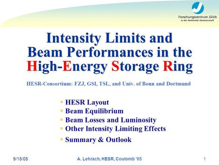 Intensity Limits and Beam Performances in the High-Energy Storage Ring