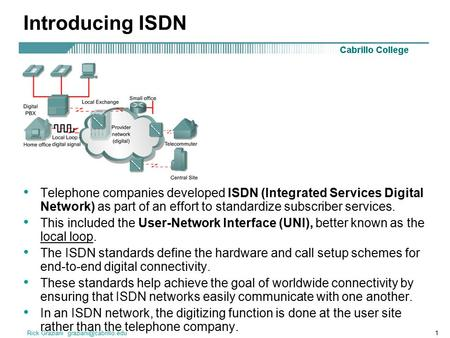 Introducing ISDN Telephone companies developed ISDN (Integrated Services Digital Network) as part of an effort to standardize subscriber services. This.