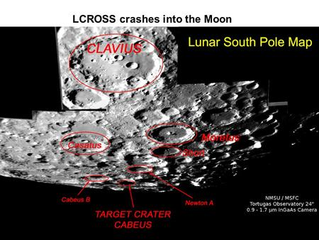 LCROSS crashes into the Moon. Image credit: NASA.