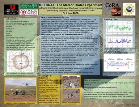 METCRAX: The Meteor Crater Experiment A Major Scientific Experiment Studying Temperature Inversions and Gravity Waves in the Arizona Meteor Crater October.