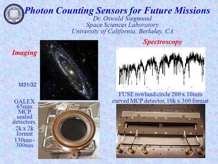 Photon Counting Sensors for Future Missions