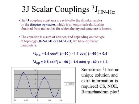 3J Scalar Couplings 3 J HN-H  The 3 J coupling constants are related to the dihedral angles by the Karplus equation, which is an empirical relationship.