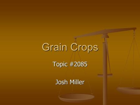 Grain Crops Topic #2085 Josh Miller. Crops and Use Grain Grain Seed of a cereal grain plant Seed of a cereal grain plant Grain kernels have a high starch.