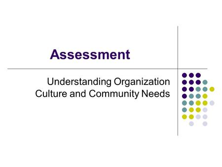 Understanding Organization Culture and Community Needs