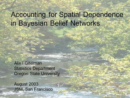 1 Accounting for Spatial Dependence in Bayesian Belief Networks Alix I Gitelman Statistics Department Oregon State University August 2003 JSM, San Francisco.