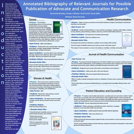 Annotated Bibliography of Relevant Journals for Possible Publication of Advocate and Communication Research Samantha Munday, Carolyn LaPlante, Sandi Smith,