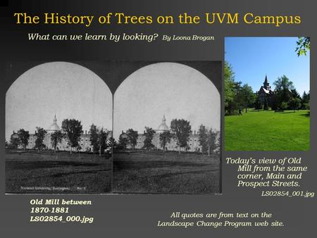 The History of Trees on the UVM Campus Today's view of Old Mill from the same corner, Main and Prospect Streets. LS02854_001.jpg Old Mill between 1870-1881.