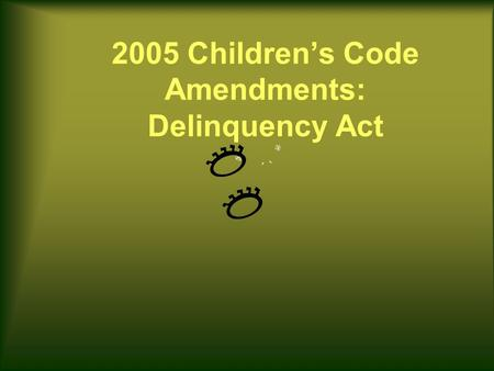 2005 Children's Code Amendments: Delinquency Act.