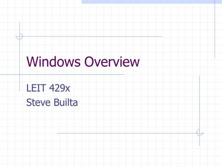 Windows Overview LEIT 429x Steve Builta. Where we are going… Overview of operating Systems Overview of Windows 9x Take and Edit digital Photos.