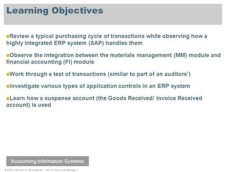 © 2009 by SAP AG. All rights reserved. / SAP University Alliances Page 1 Learning Objectives Review a typical purchasing cycle of transactions while observing.